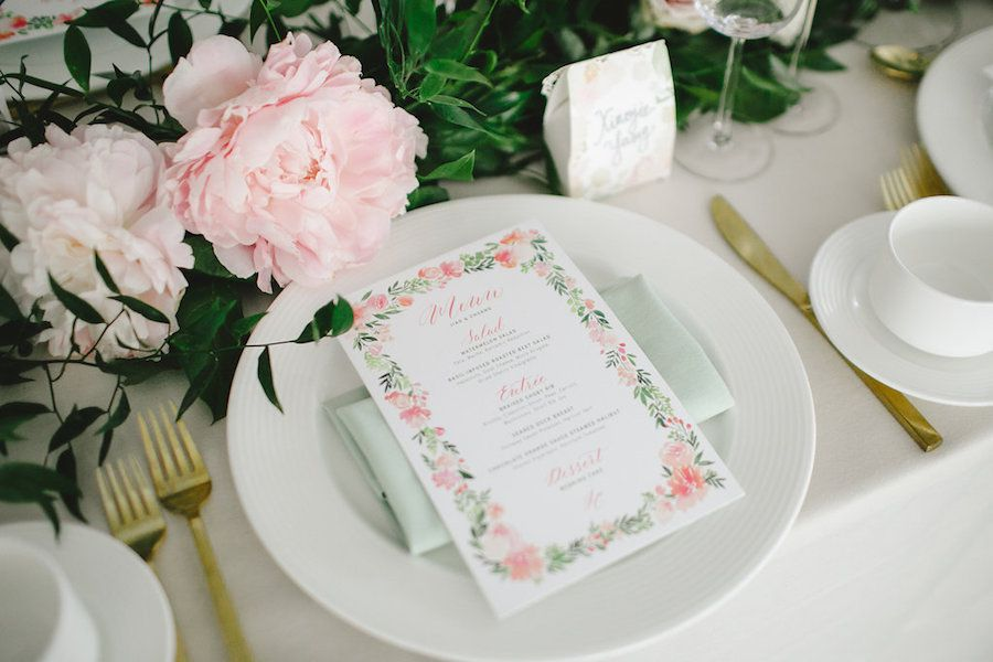 Pink and Mint Green Place Setting