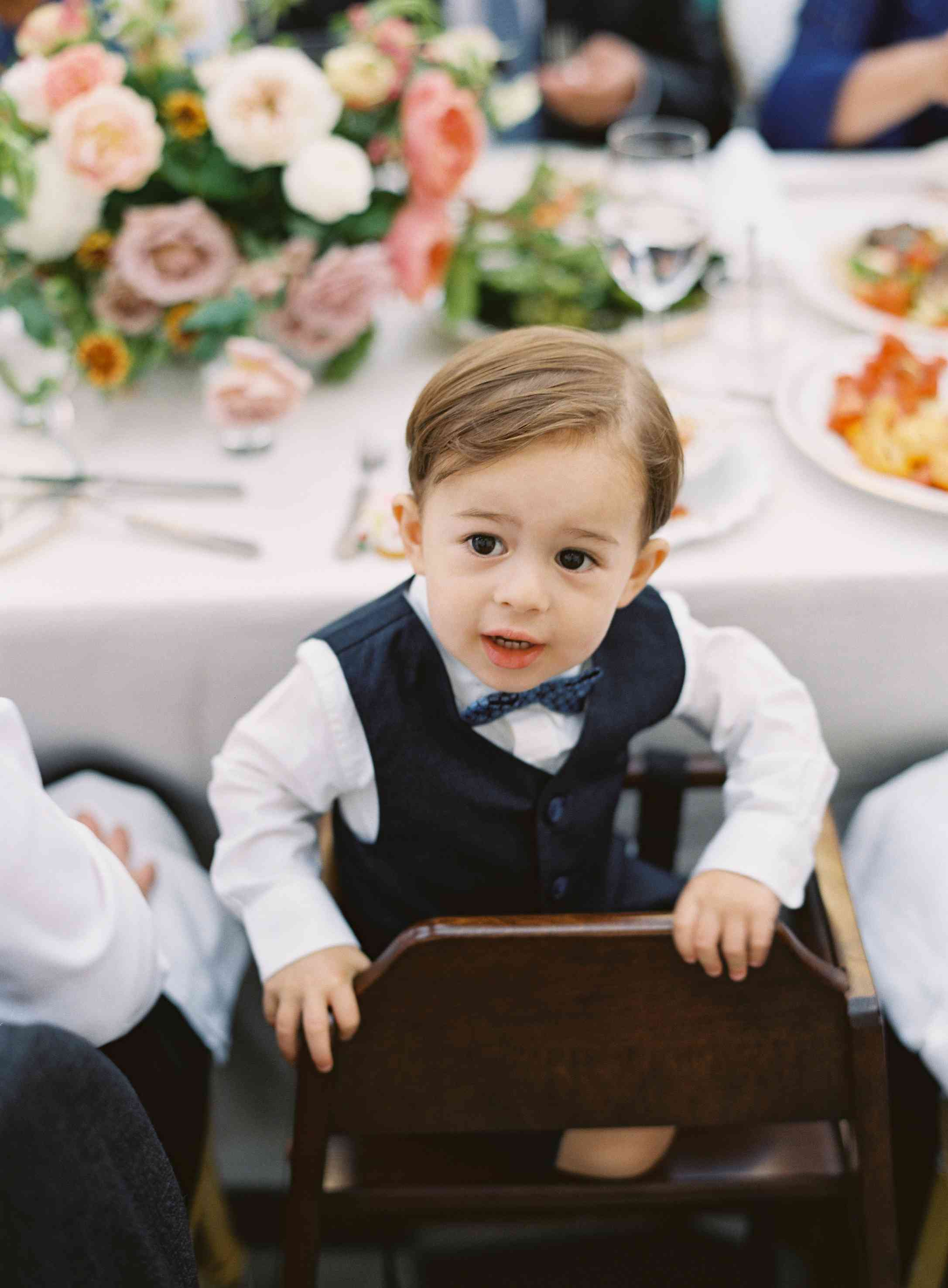 A young wedding guest at the reception