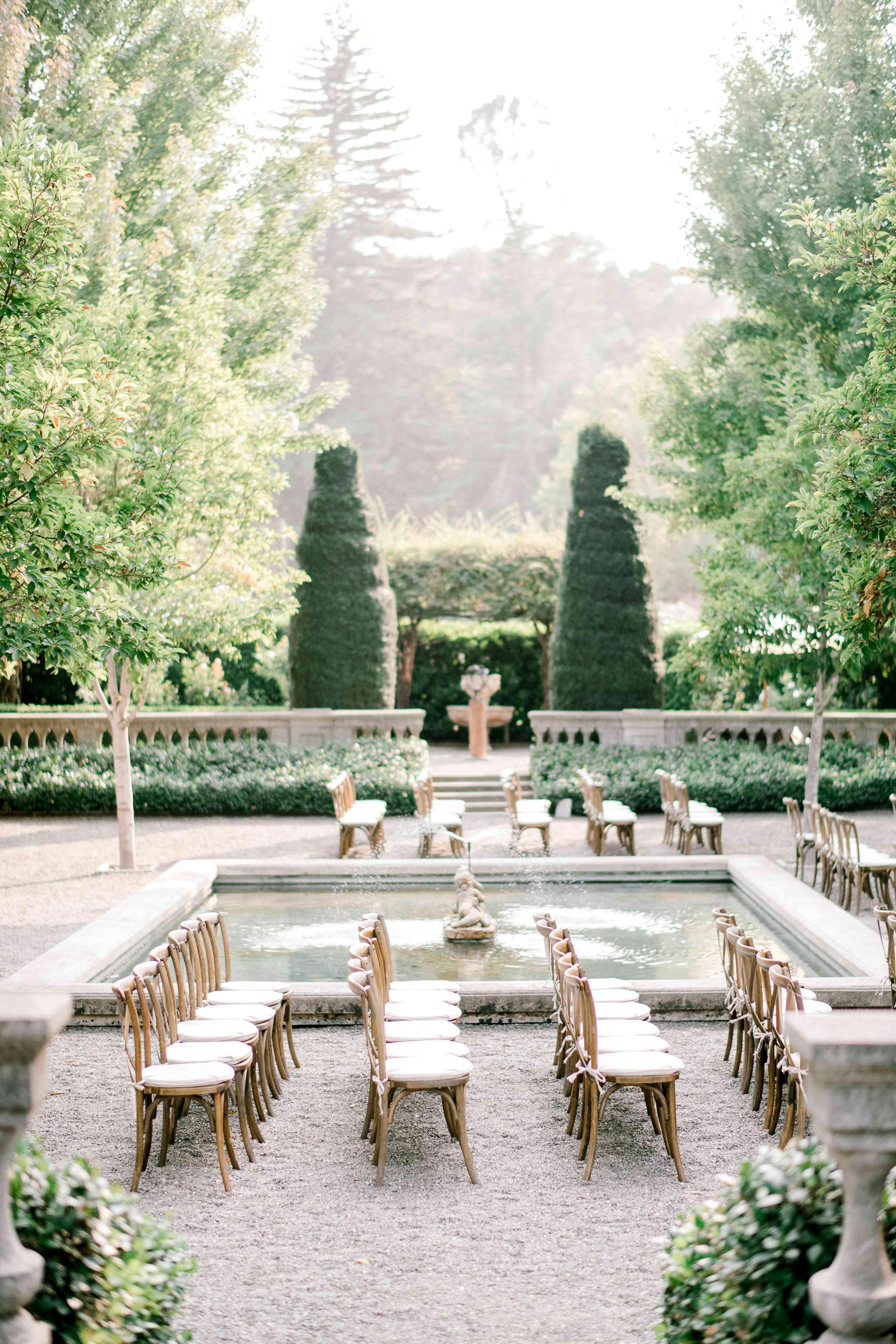 Wedding ceremony in a garden courtyard