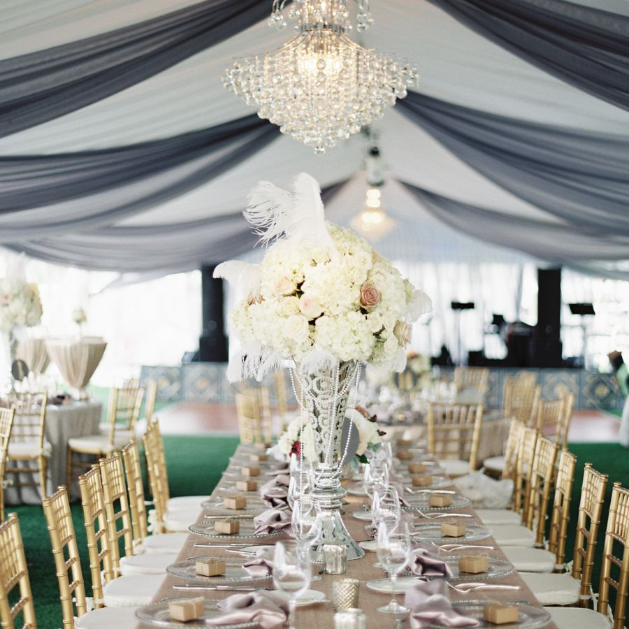Feather accented centerpiece