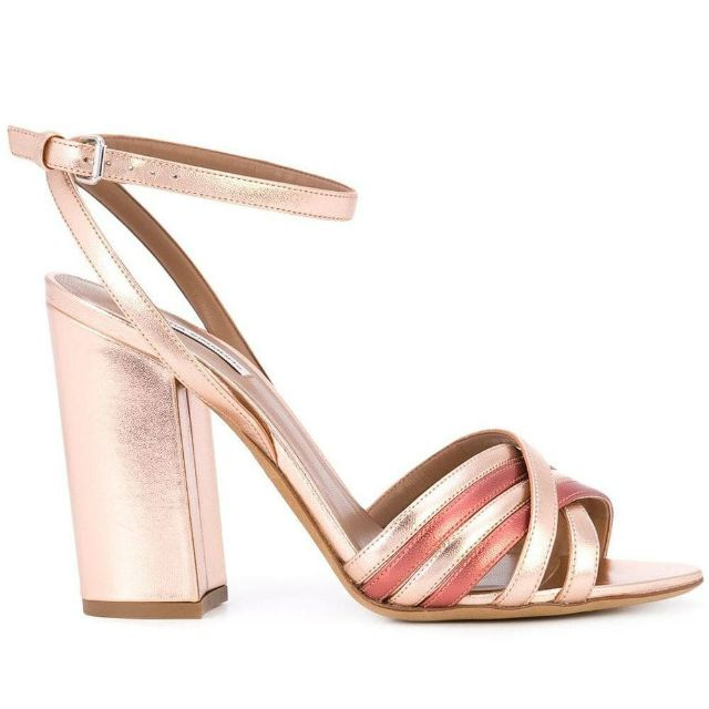 Rose gold block heel slingbacks