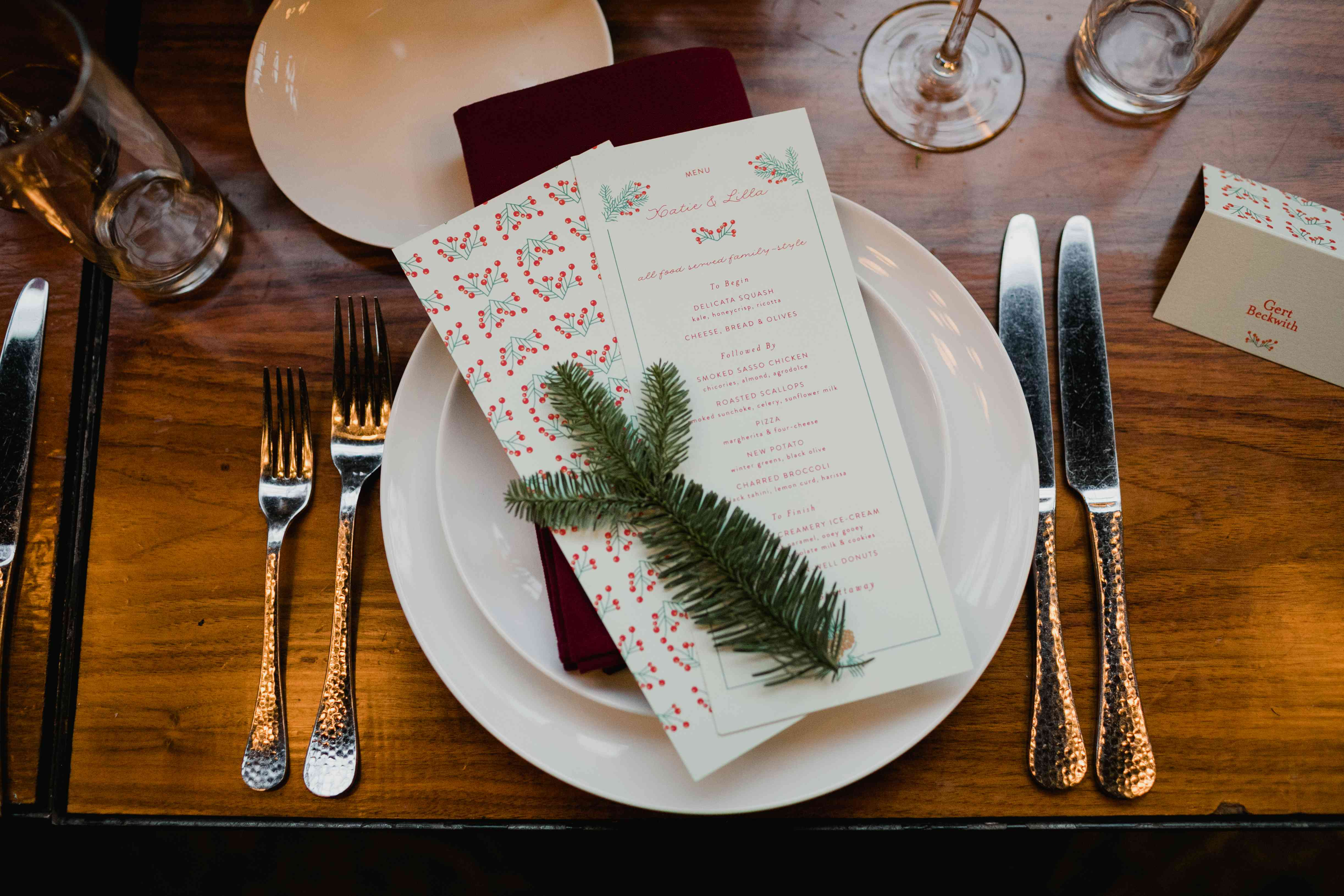 Place setting with menu detail