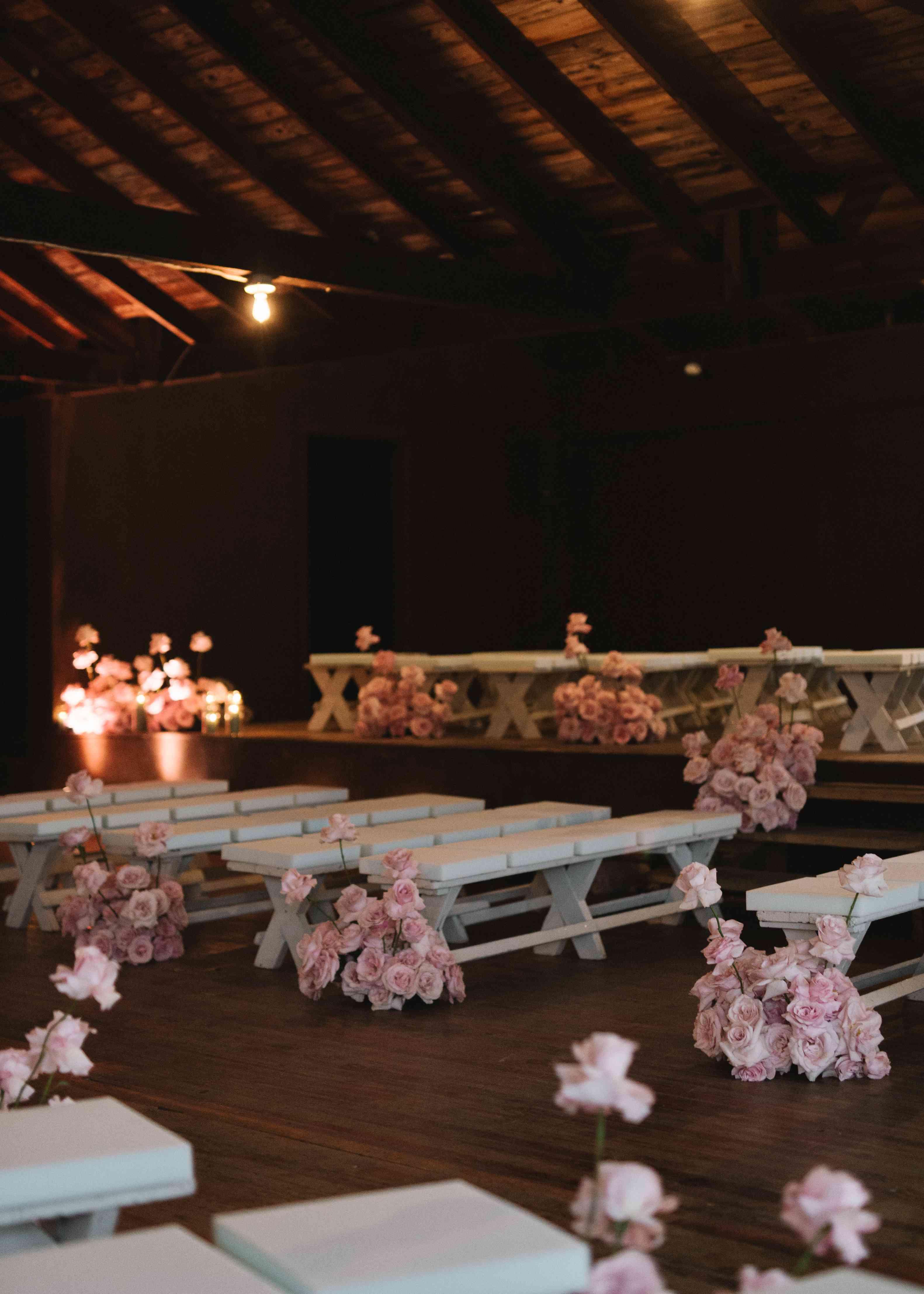 pink white wedding ceremony
