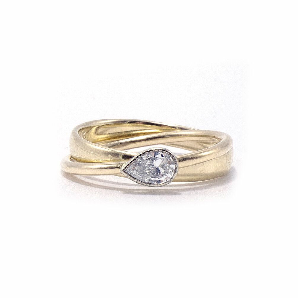 Ashley Zhang Pear Cut Diamond Rolling Ring
