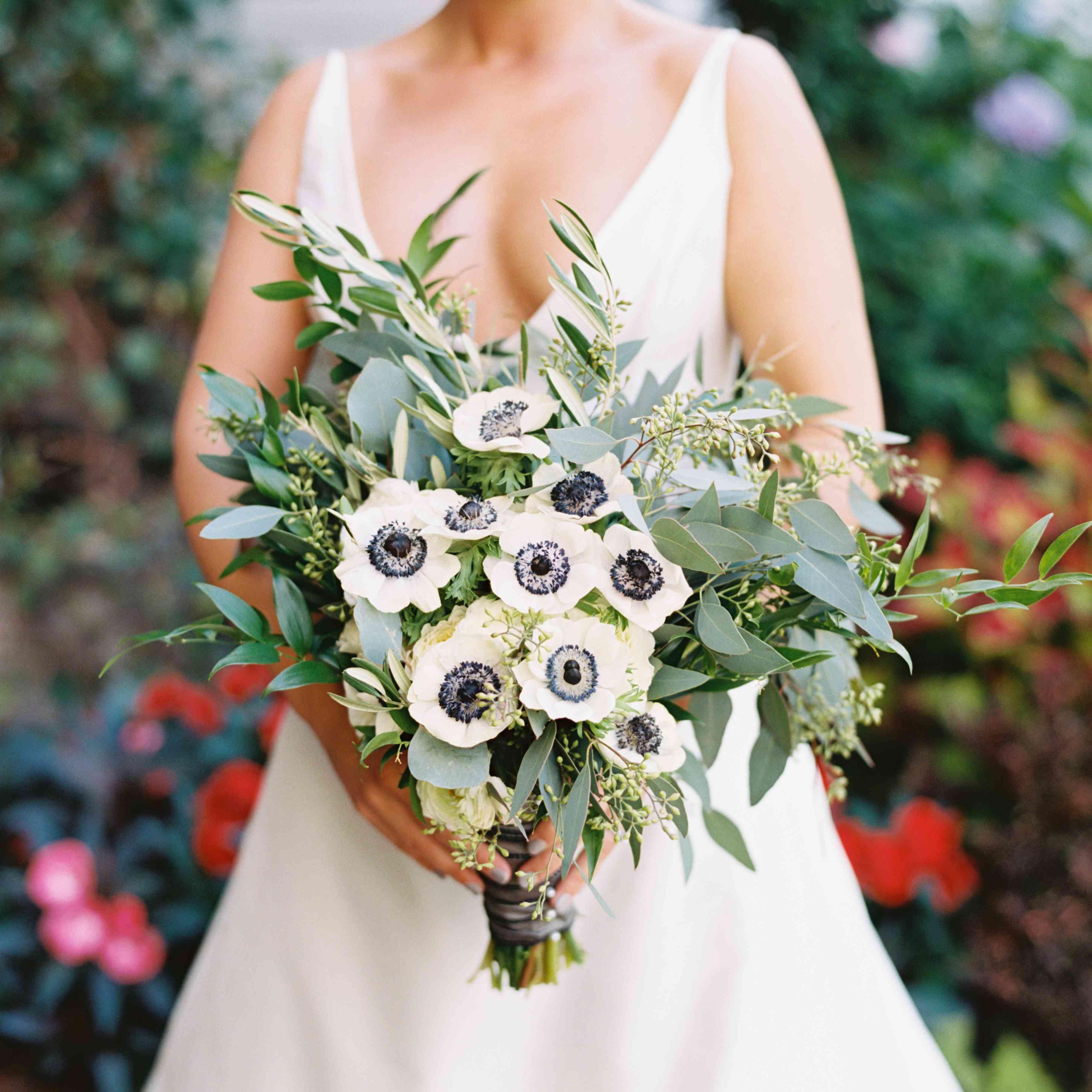 Bride's bouquet featuring white panda anemones