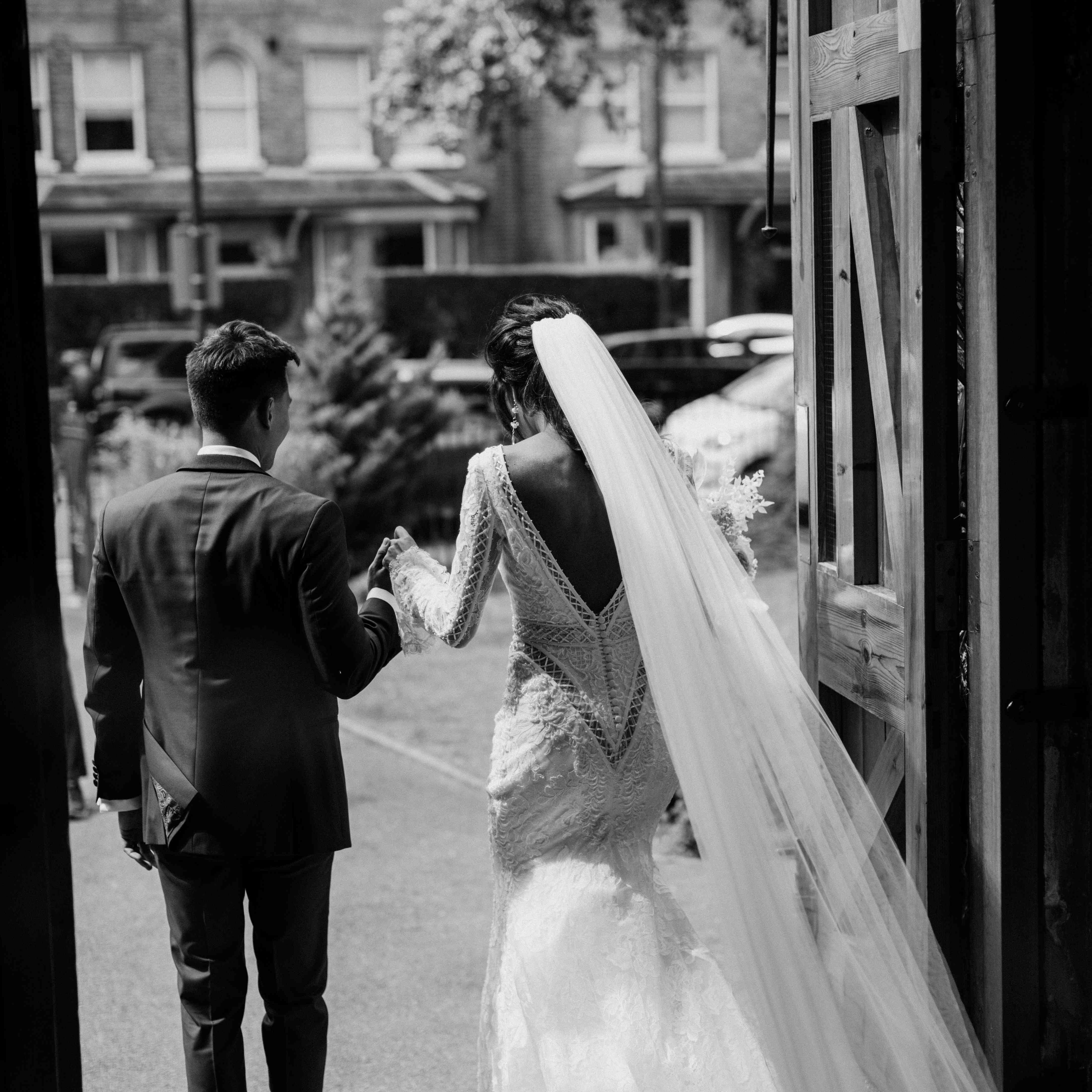 Black and white photo of veil and train