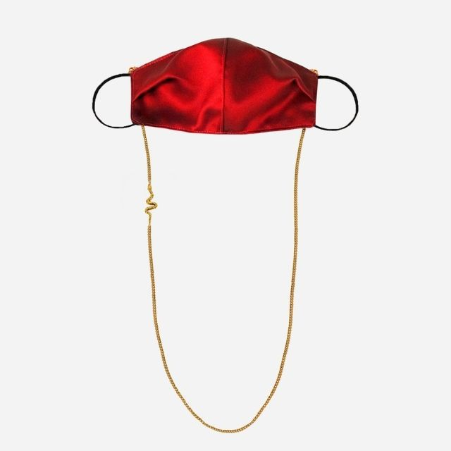 Satin Mask with Face Chain