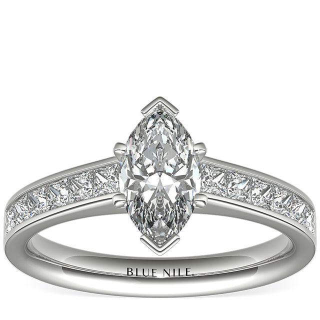 Blue Nile Princess Cut Channel Set Diamond Engagement Ring