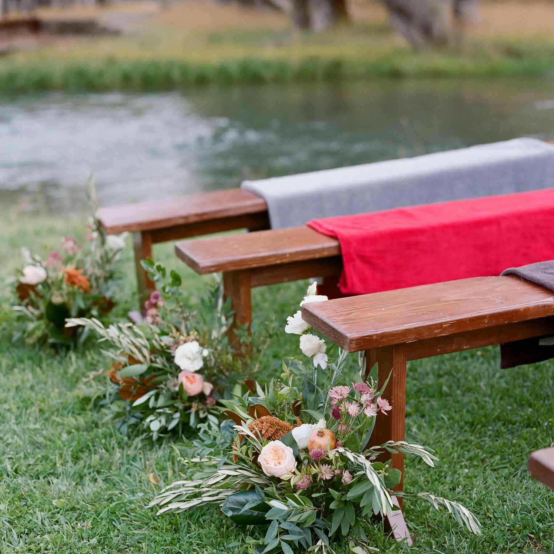 <p>Wedding ceremony seating, benches</p>
