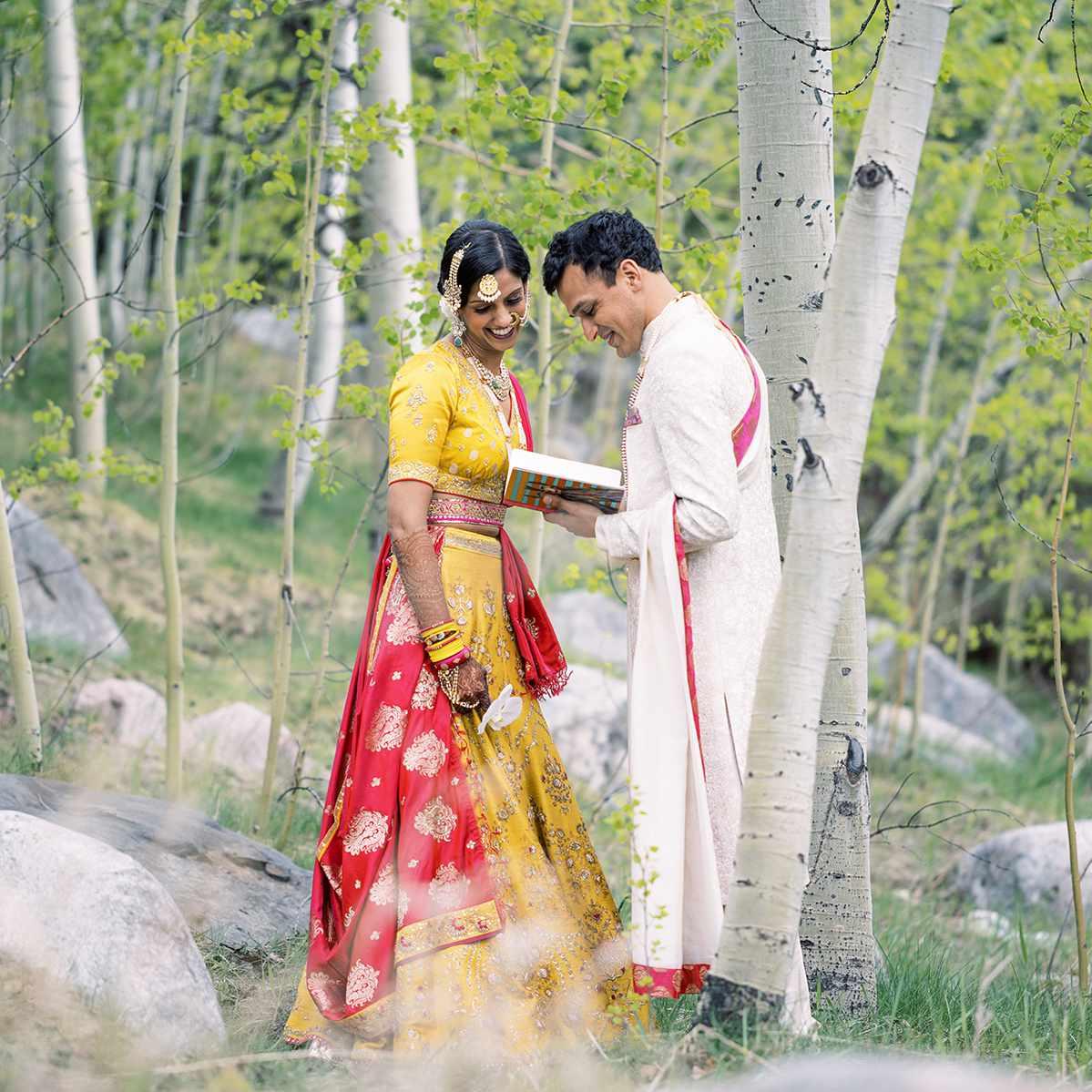 groom reading to bride