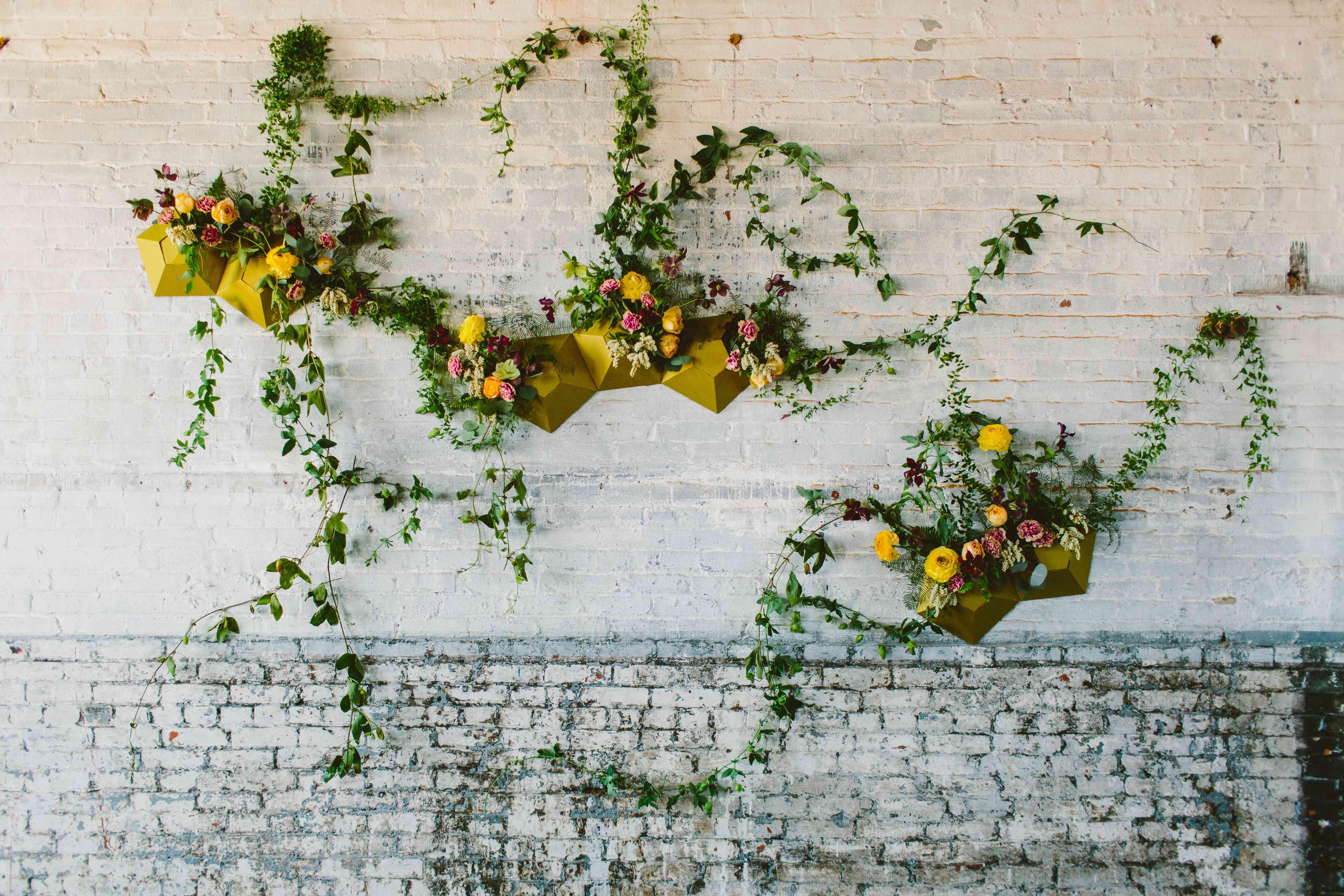 Geometric floral wall art