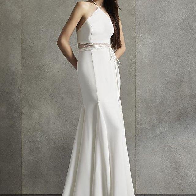 White by Vera Wang Illusion Waist Halter Dress $299, was $598