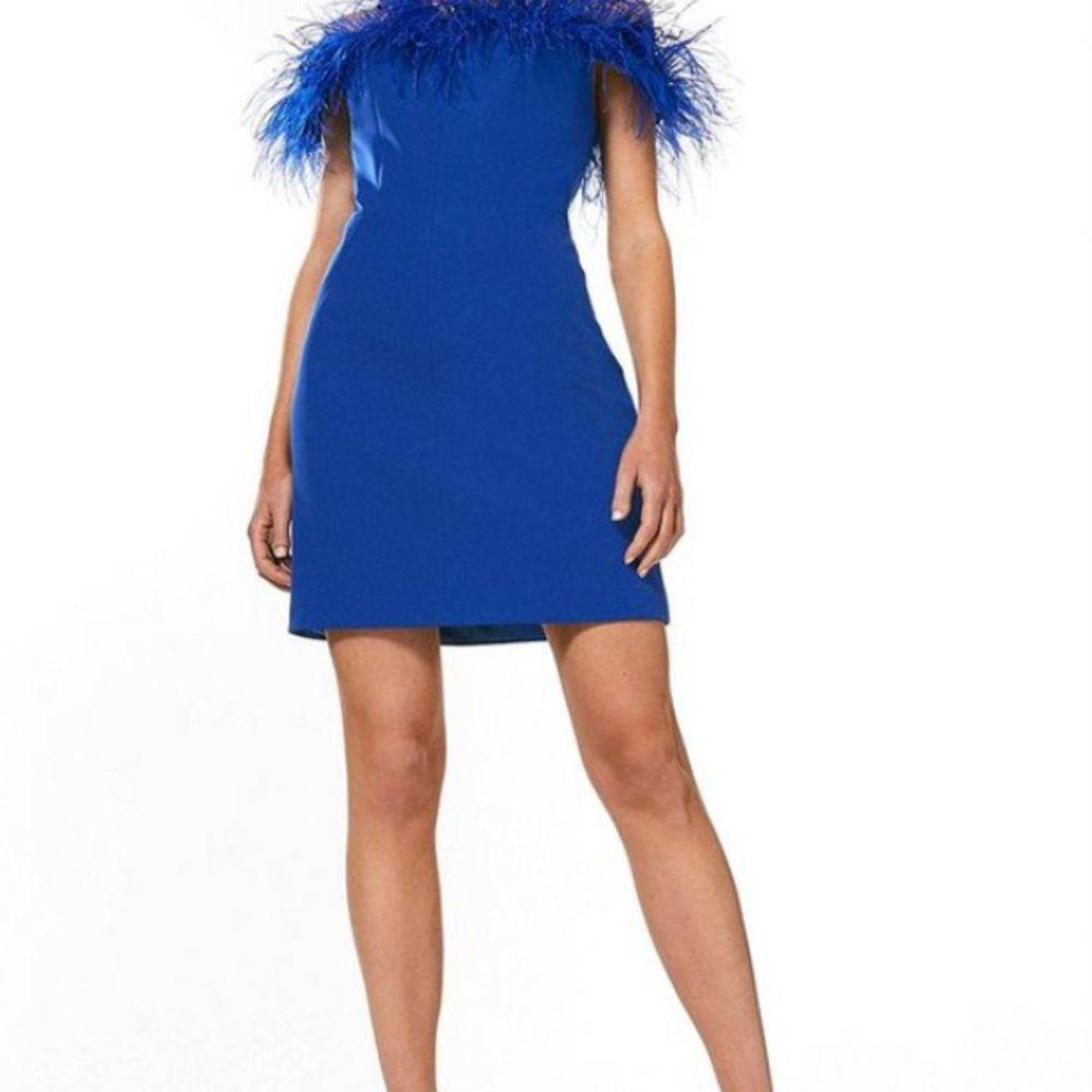 feather blue dress