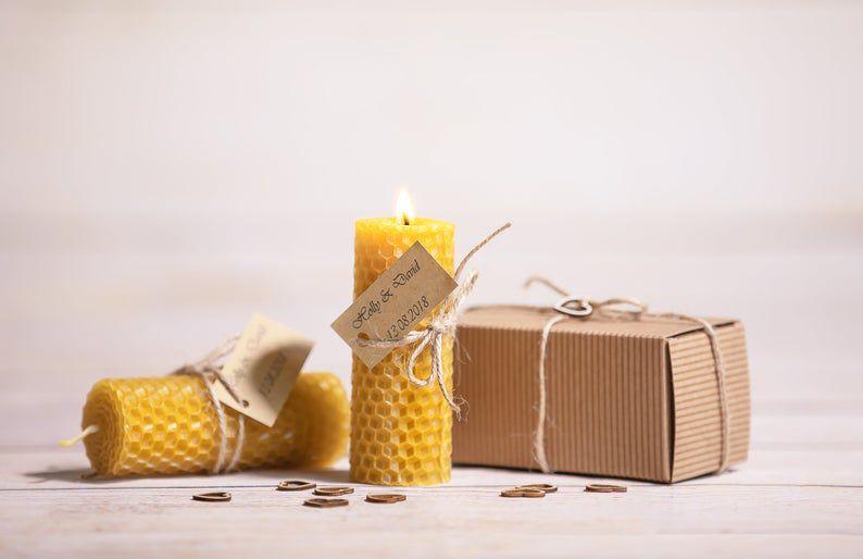 Mini beeswax candle wedding favor