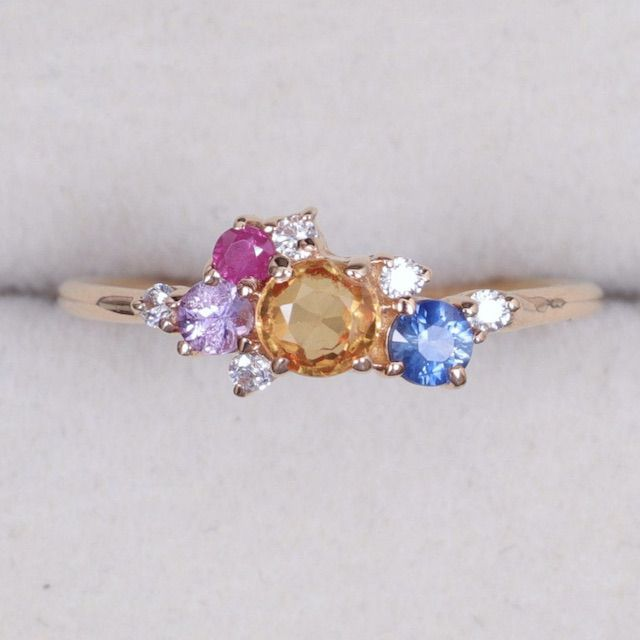 VimleshBadaya 9k/14k Solid Gold Multi Sapphire Cluster Engagement Ring