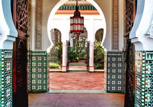 Open hallway in building in Morocco