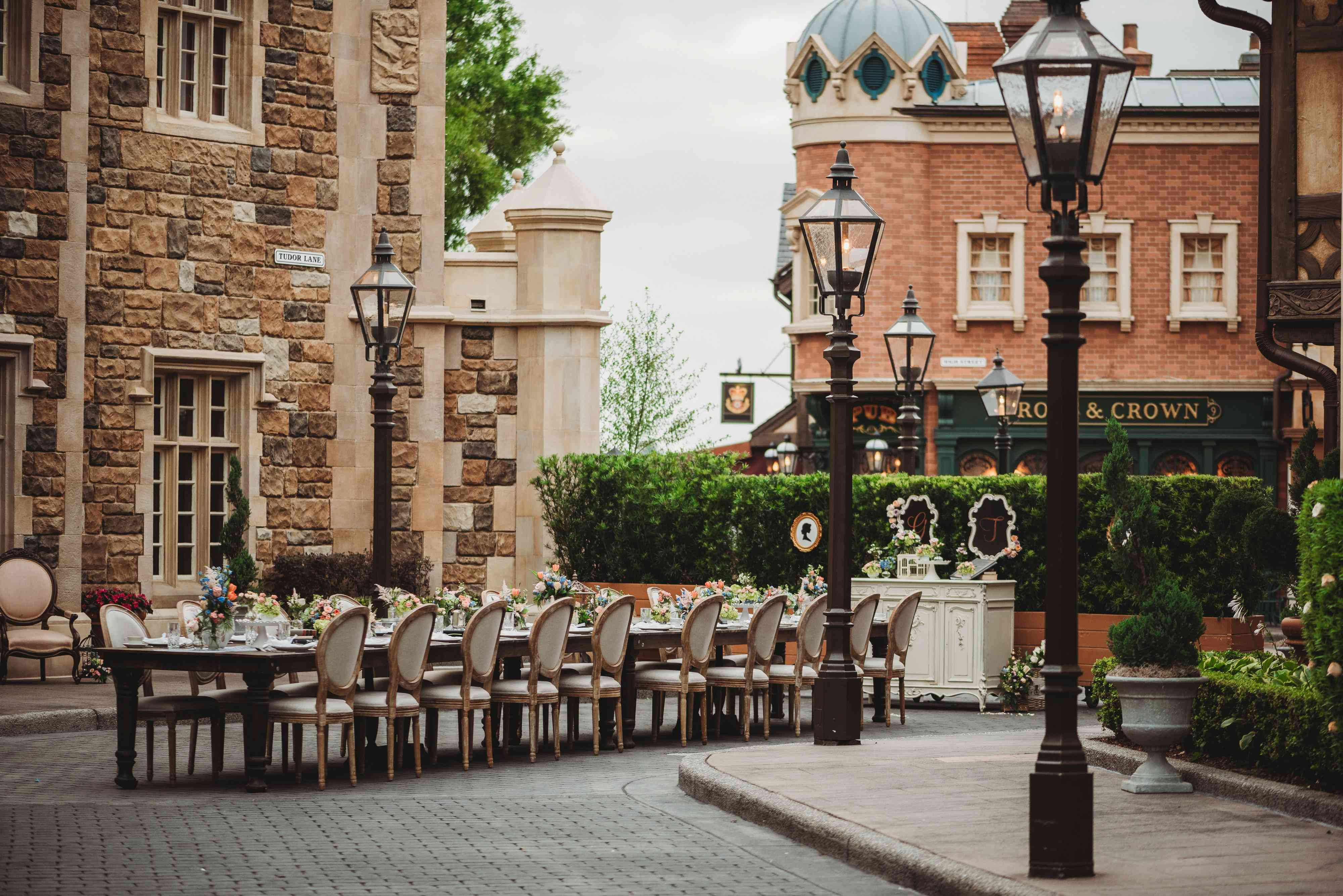A long table set up for dinner in Epcot.
