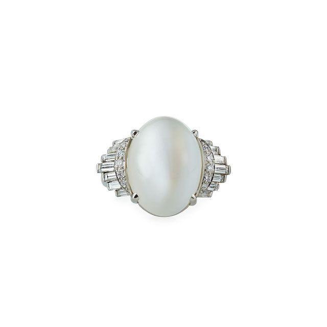 Oscar Heyman Platinum Cat's Eye Moonstone Diamond Ring