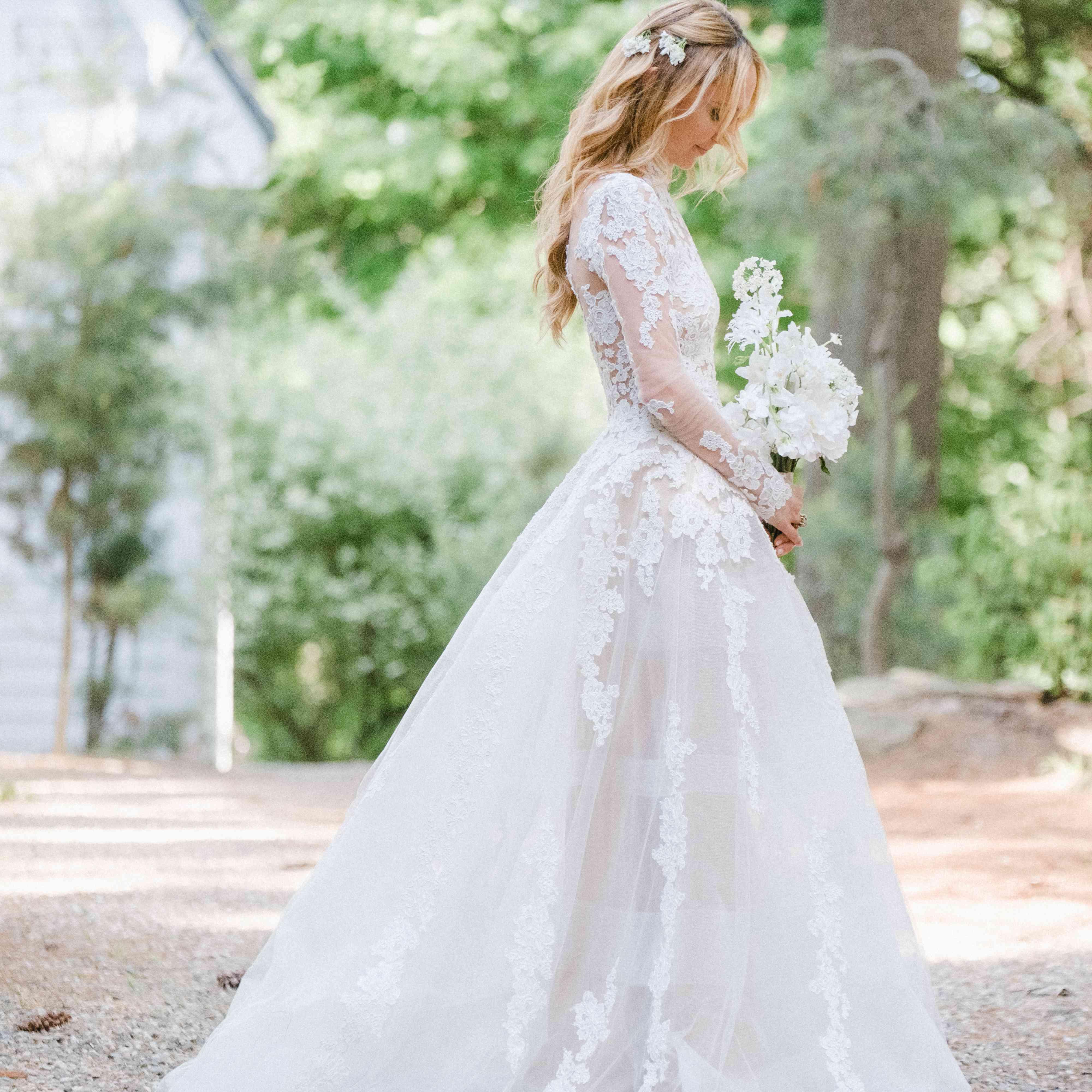 long sleeve lace illusion wedding dress