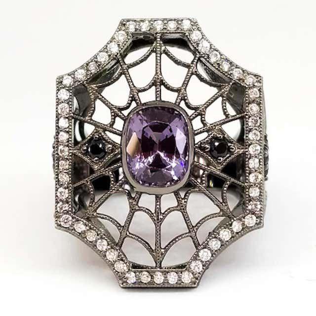 Tom Castor Purple and Black Spinel Diamond Spiderweb Filigree Ring