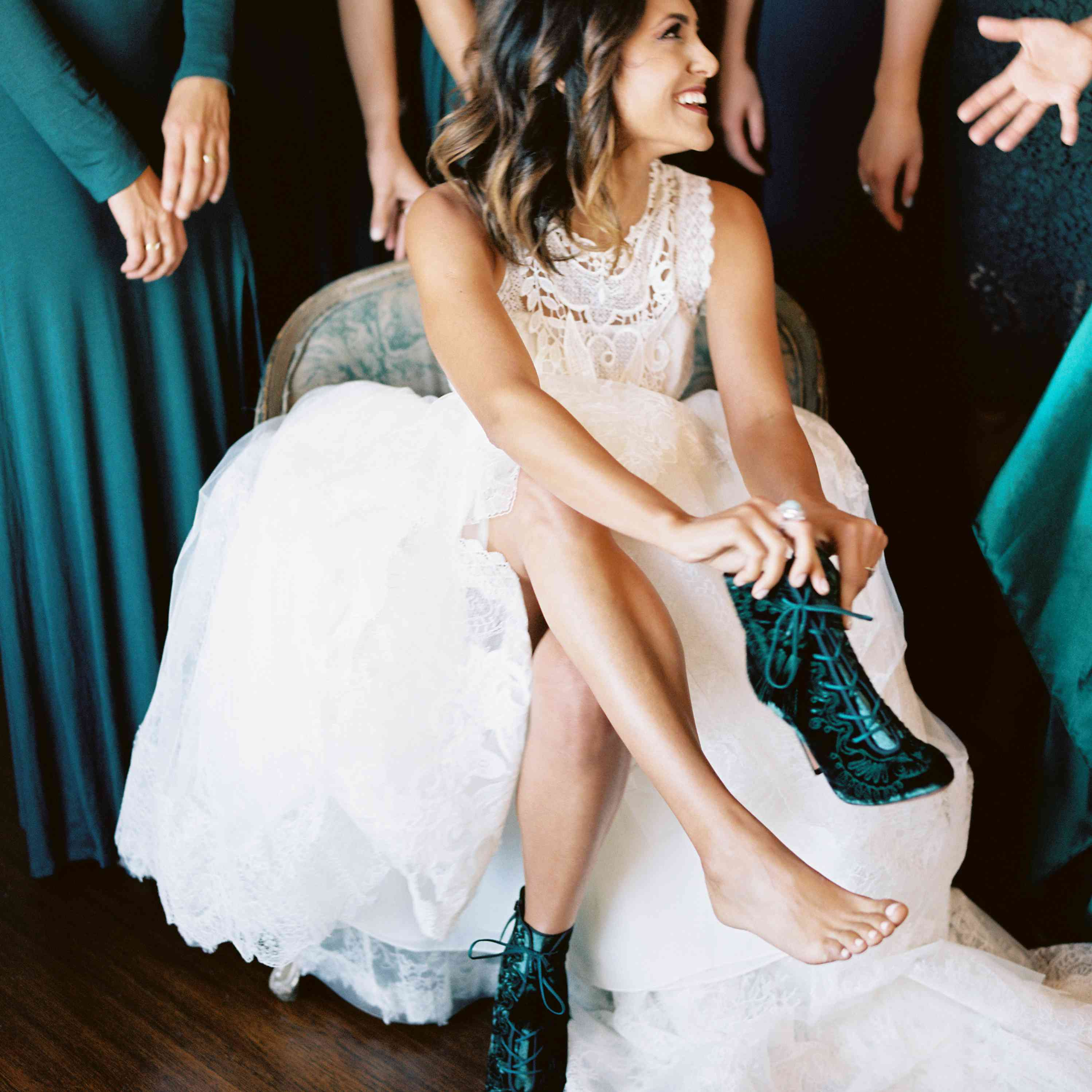 green wedding boots bridal shoes
