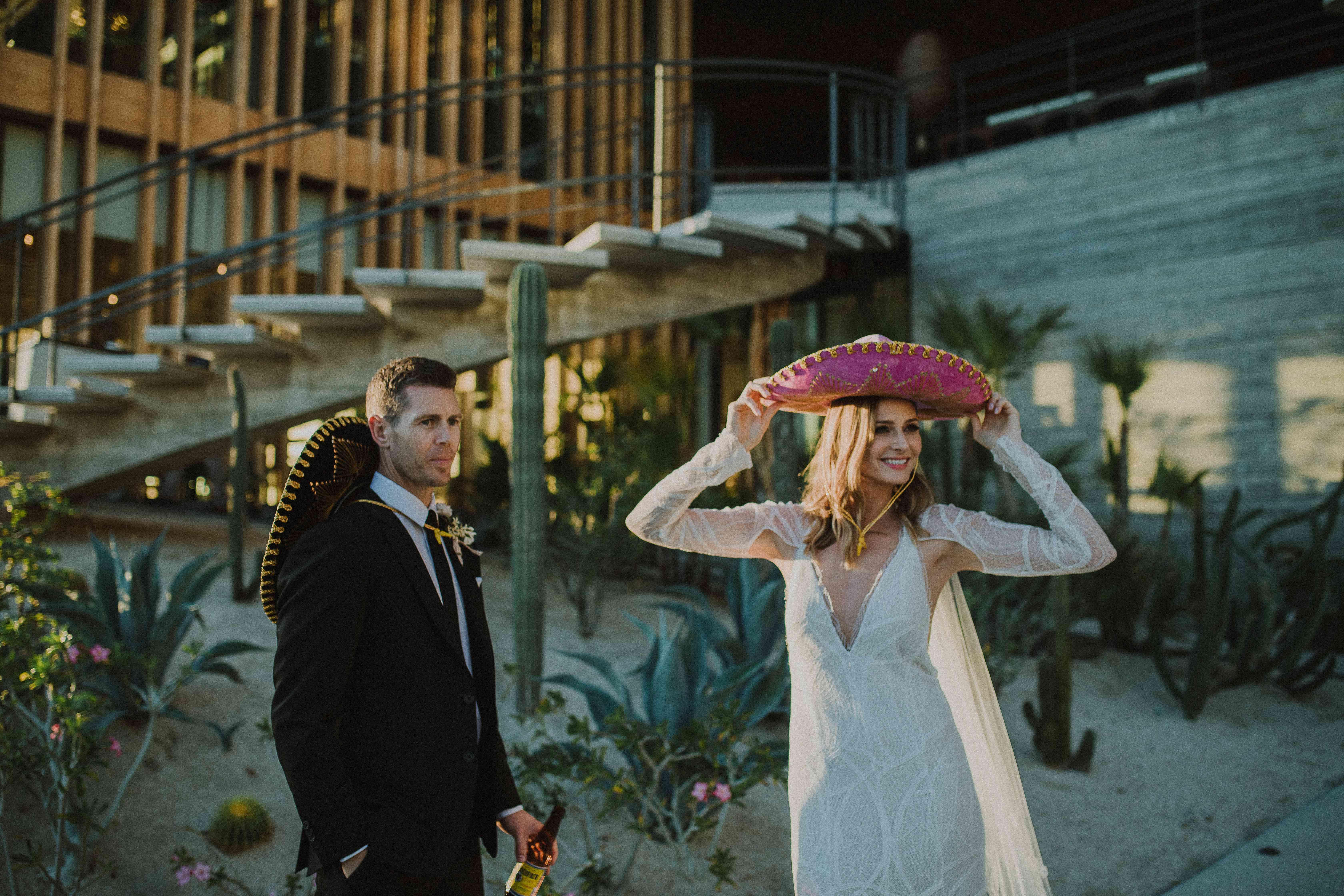 Bride and Groom in Sombrero Hats