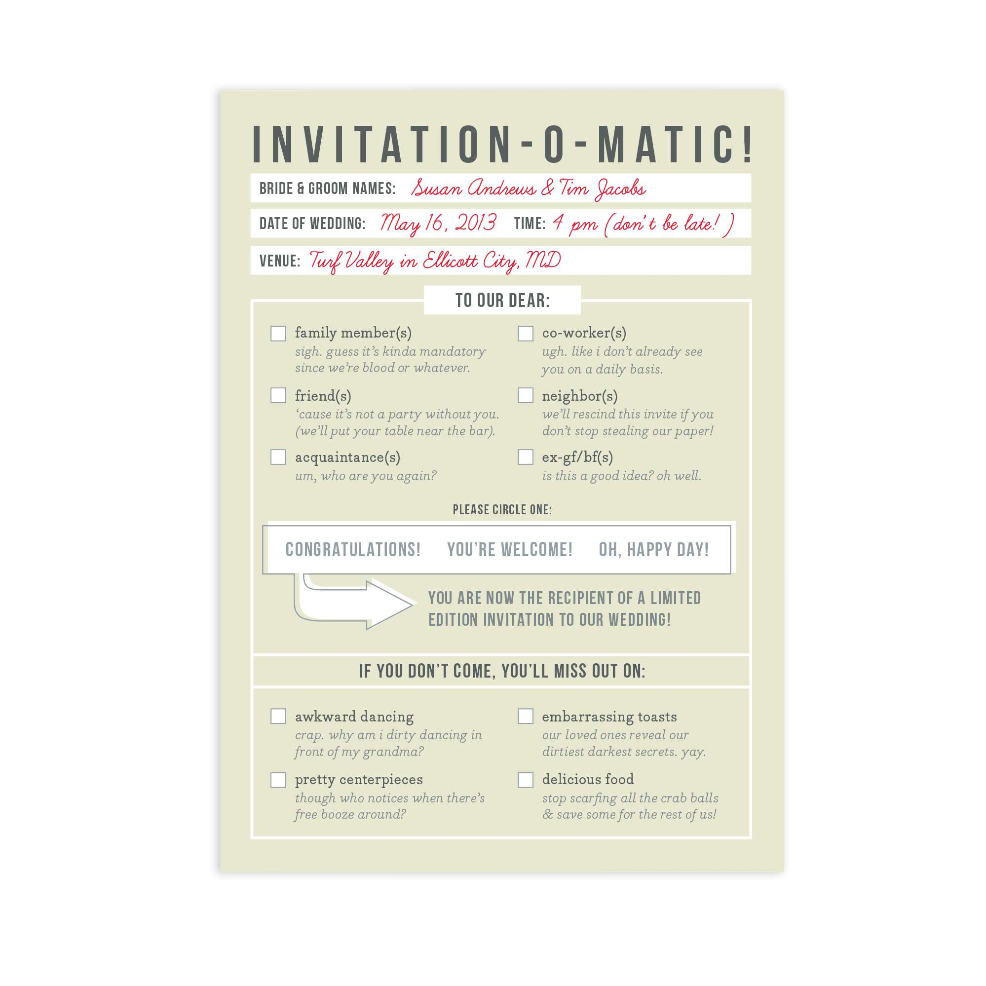 Wedding Invitation Funny: 13 Funny Wedding Invitations Perfect For Every Sense Of Humor