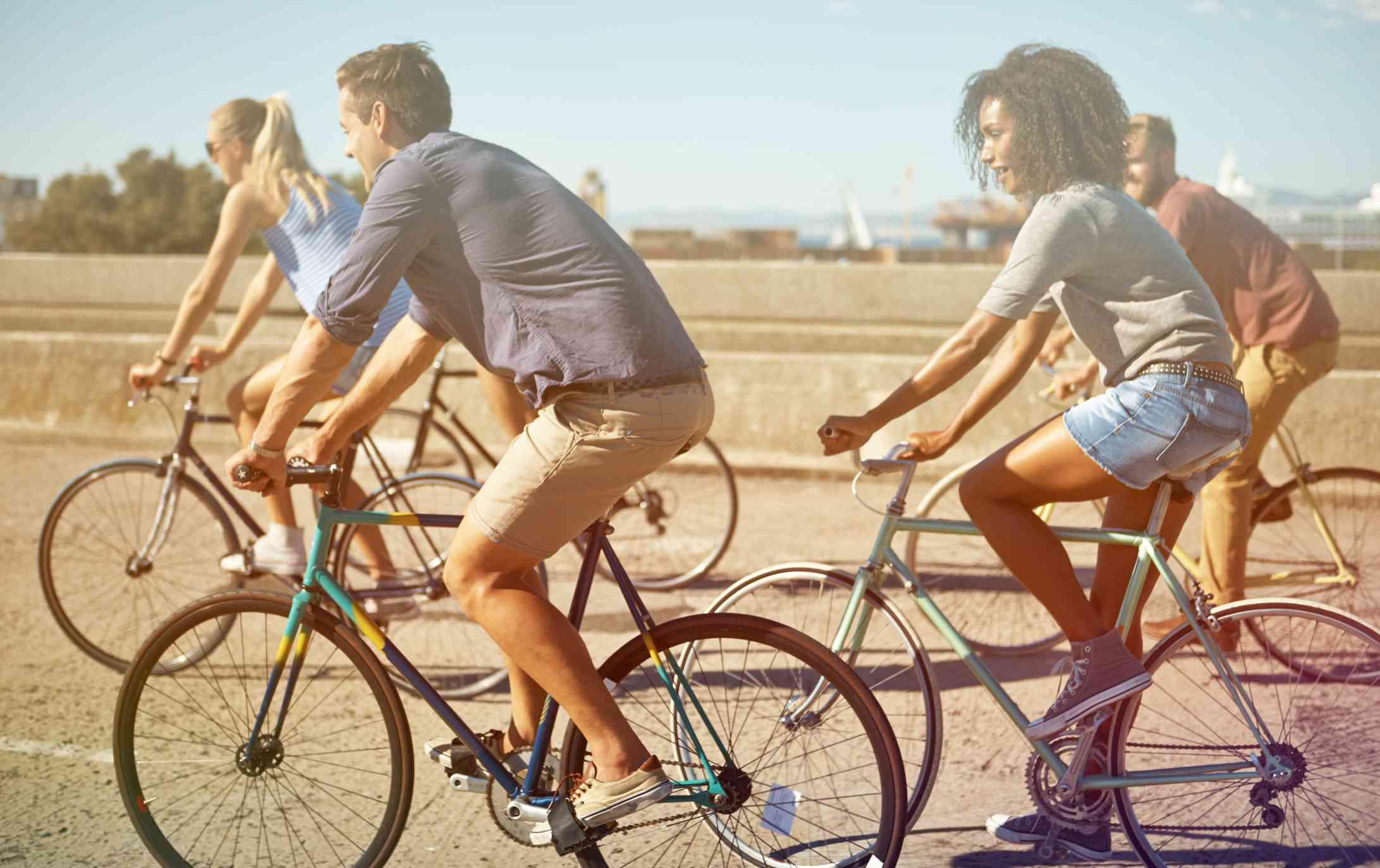 Four friends biking