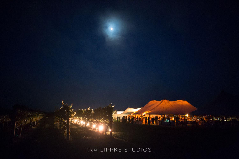 A vineyard reception at night
