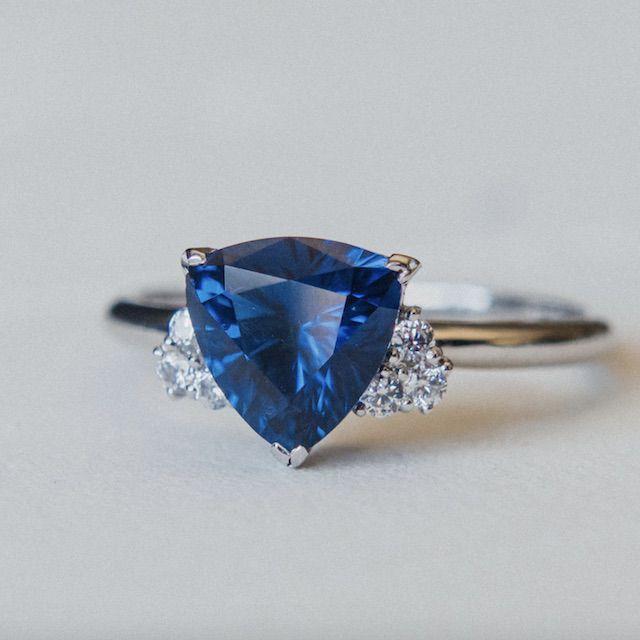 NinaVovaJewelry Trillion Cut Spinel Engagement Ring