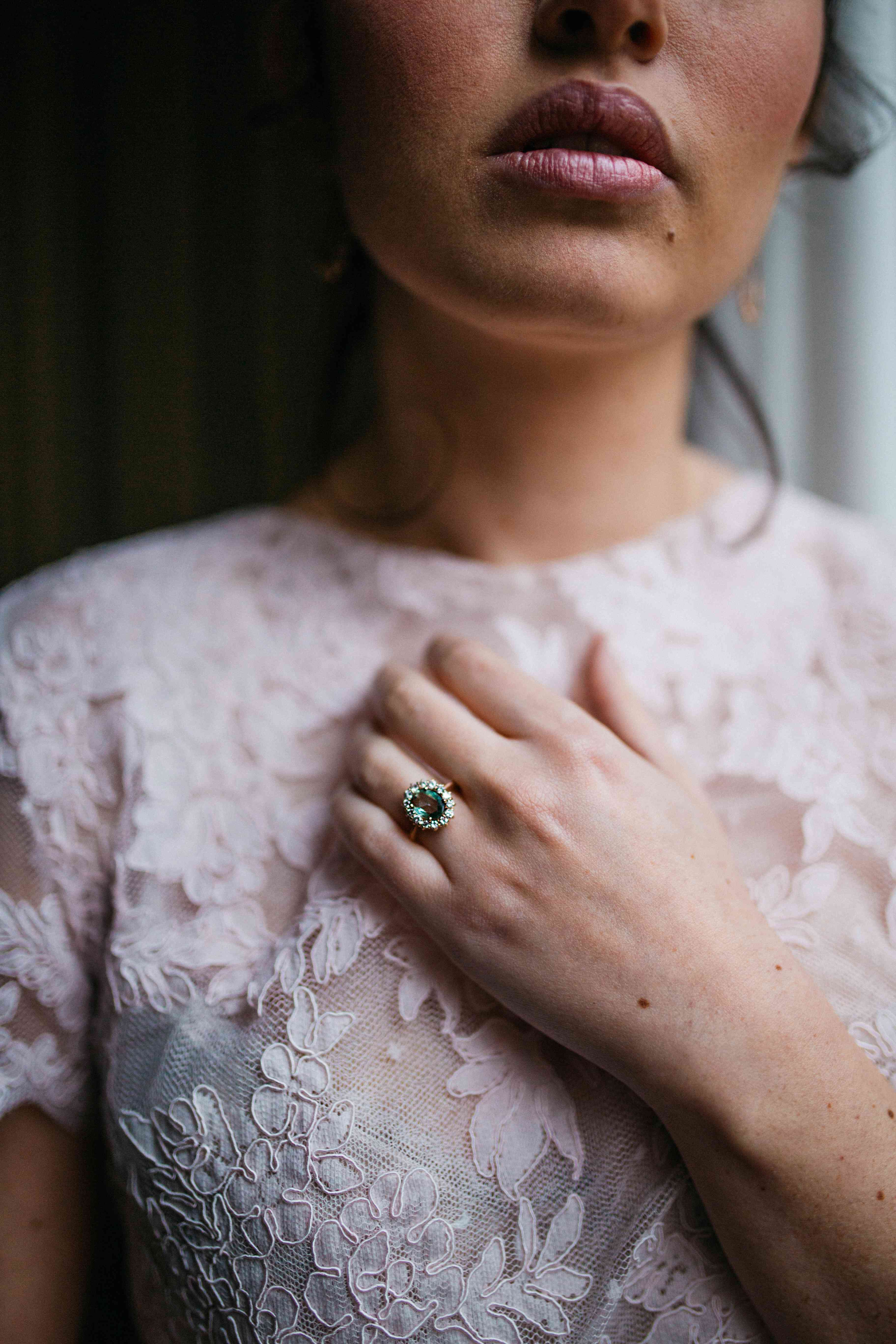 Woman with a vintage engagement ring