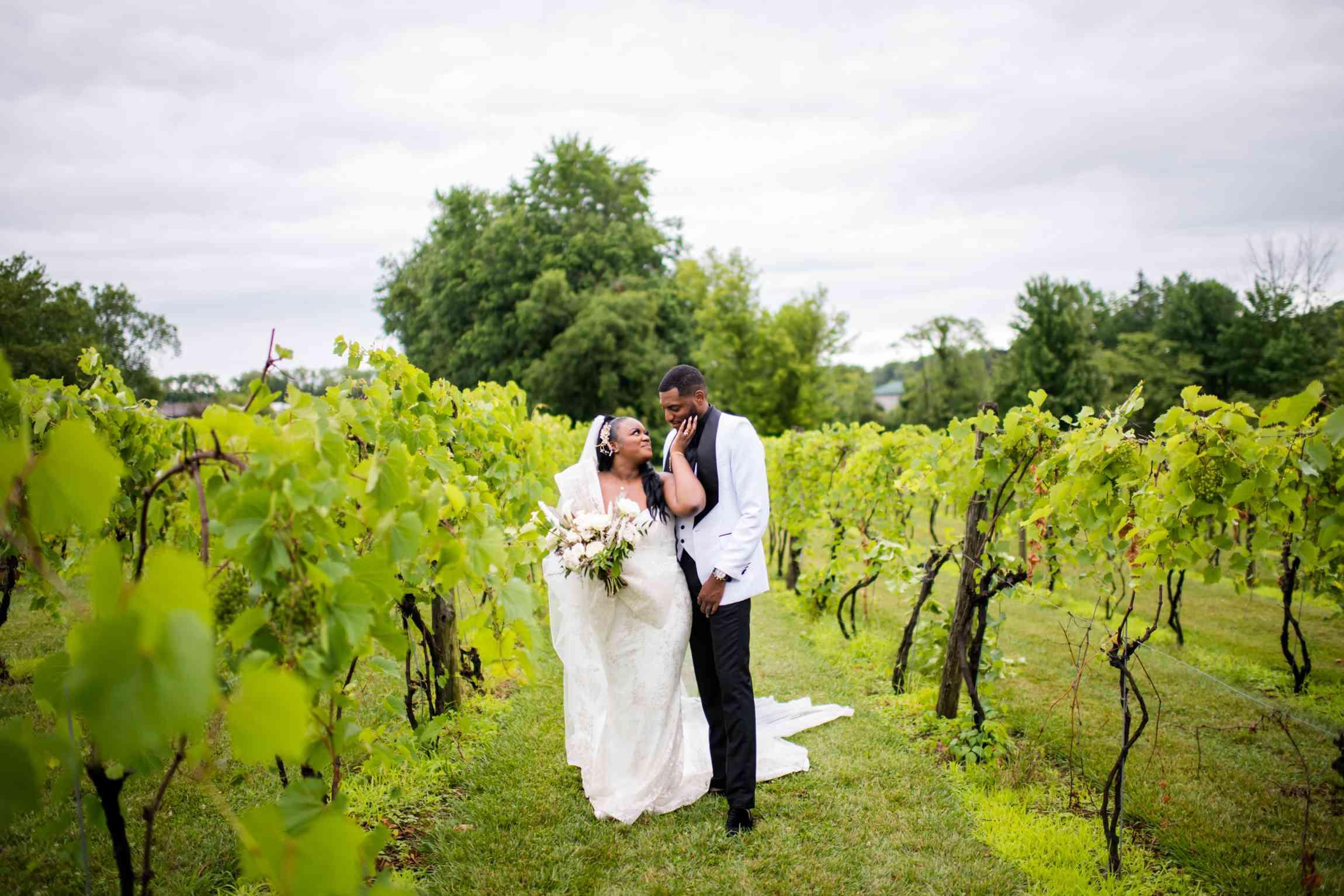 Couple portrait in the vineyard