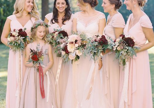 Bridesmaids in pink gowns