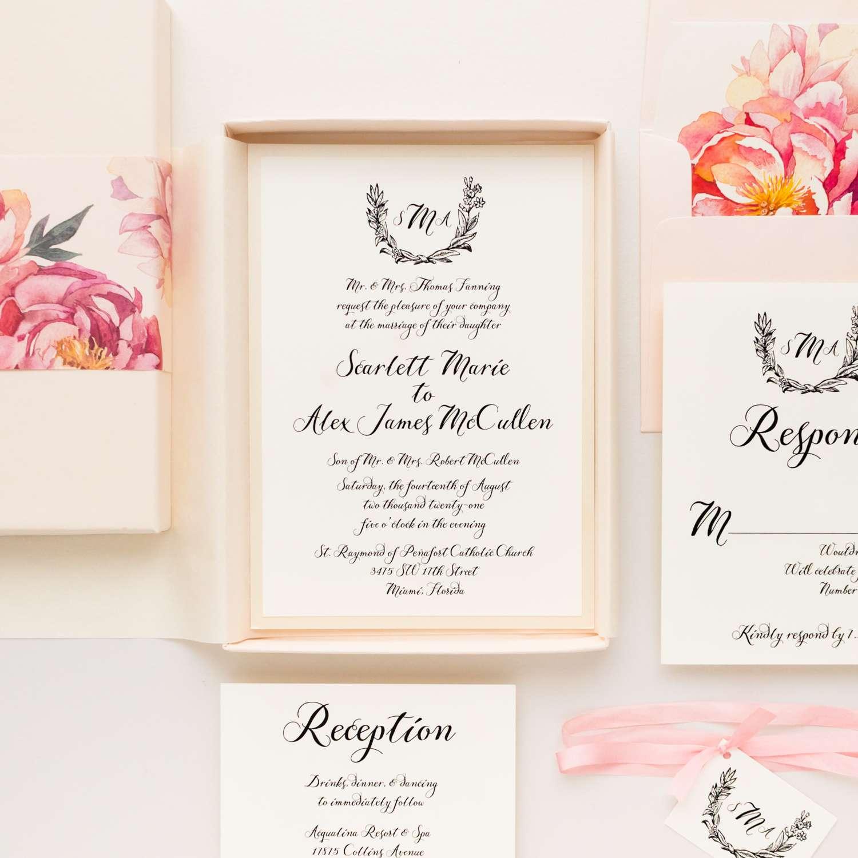 Beacon Lane Pink Peonies Boxed Wedding Invitations