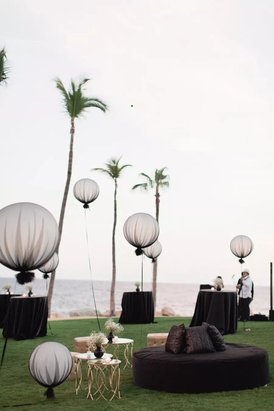 Oversize balloons covered in black tulle
