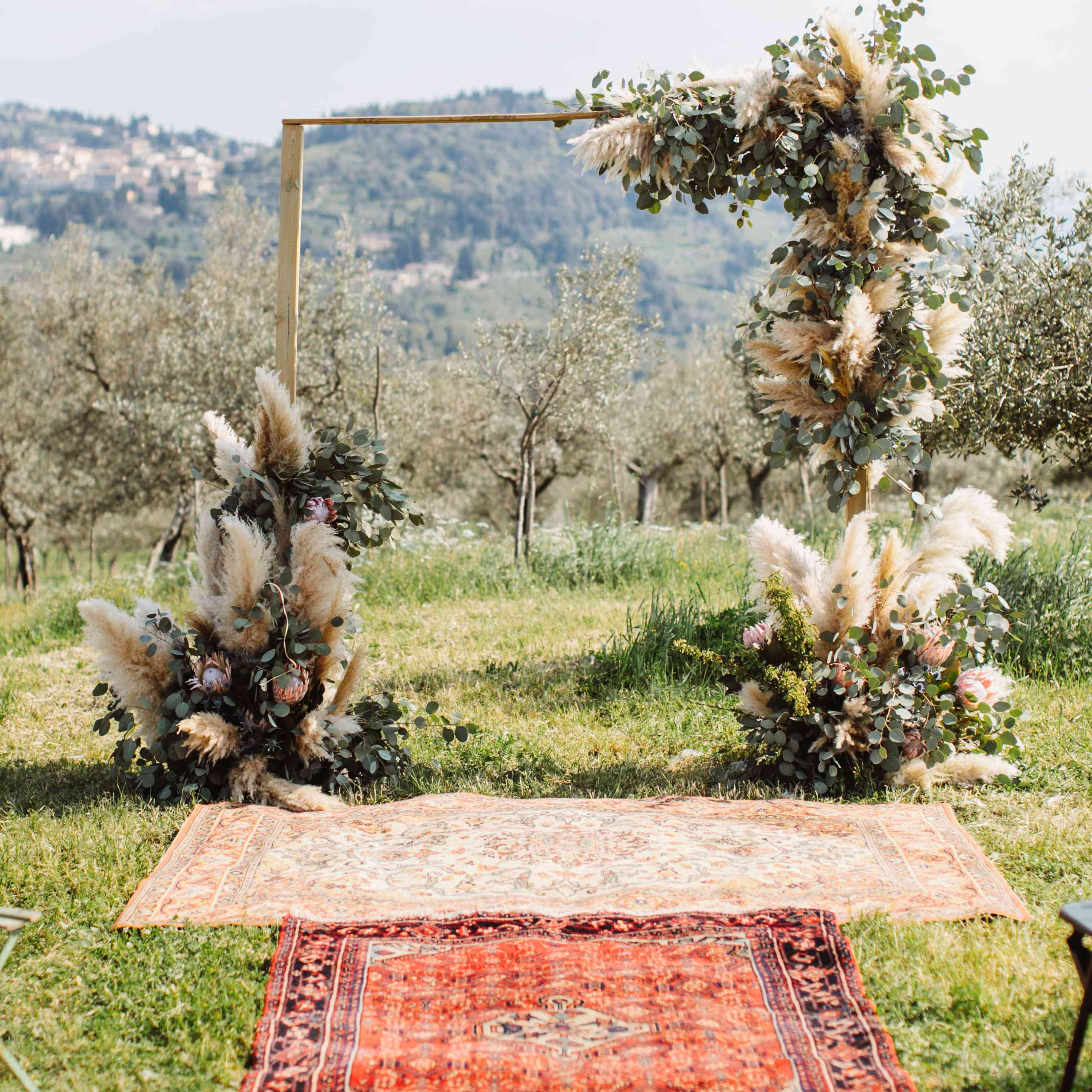<p>persian rug lined aisle</p><br><br>