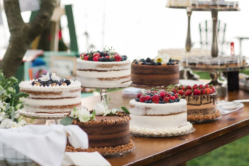 dessert table of mixed chocolate cake and berry cakes at a smaller wedding celebration in a backyard in sumer july