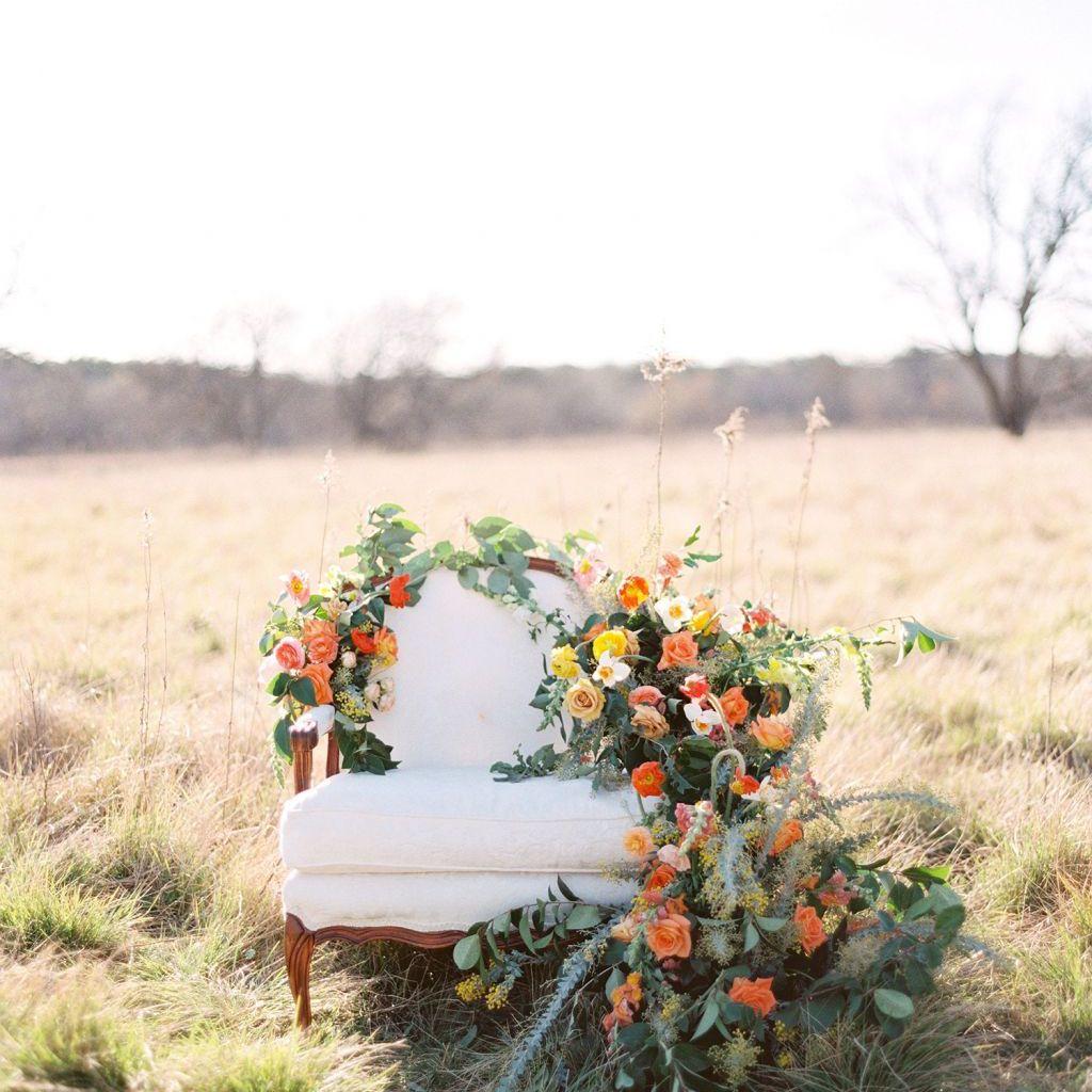 Citrus hued floral arrangements