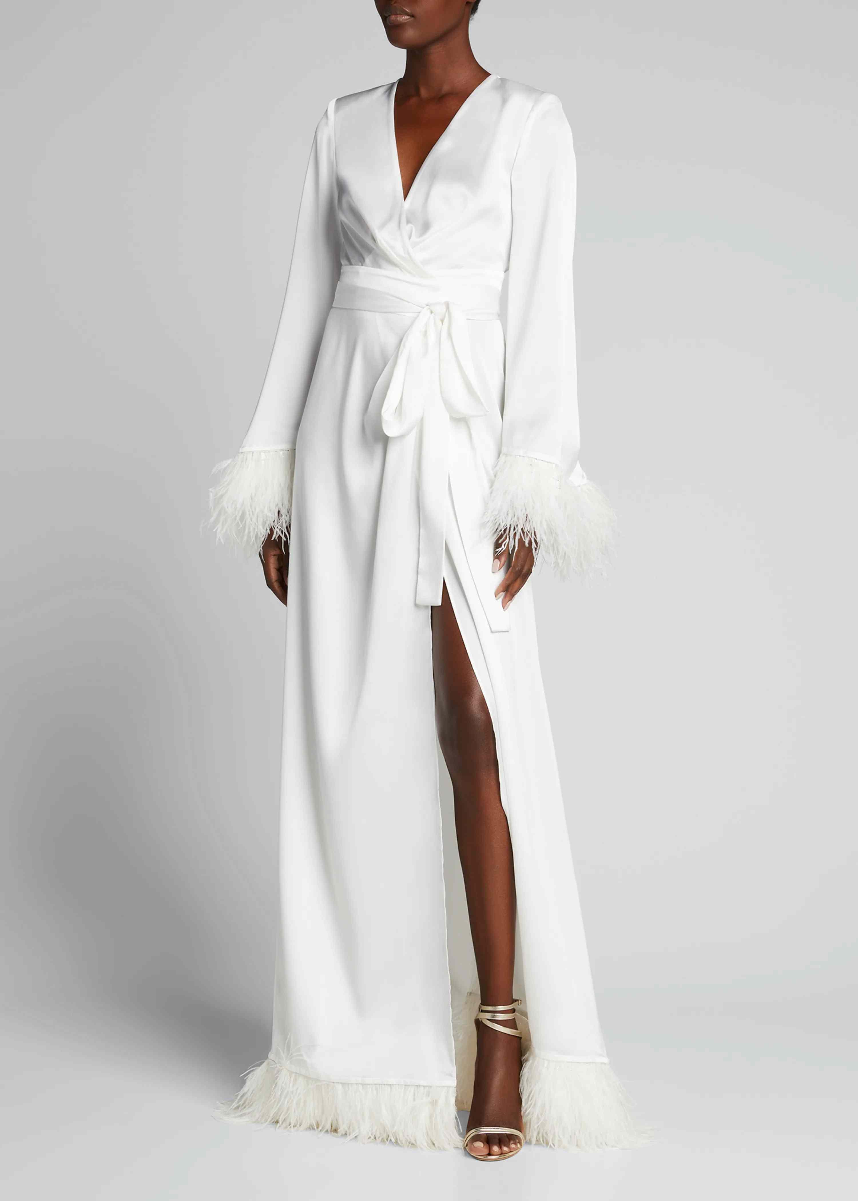 Feather Trim Satin Robe Gown