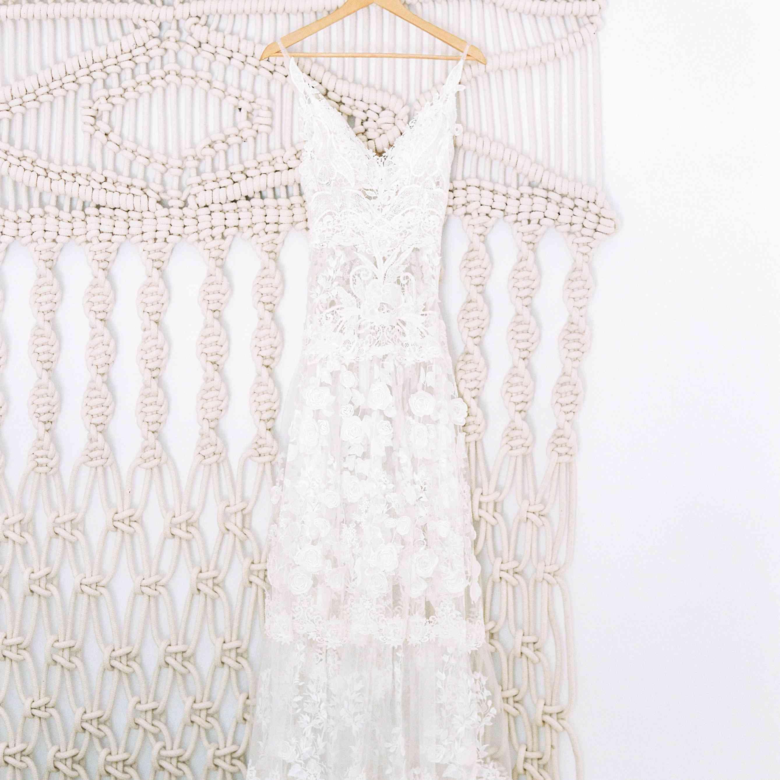 Hanging bride's dress macrame