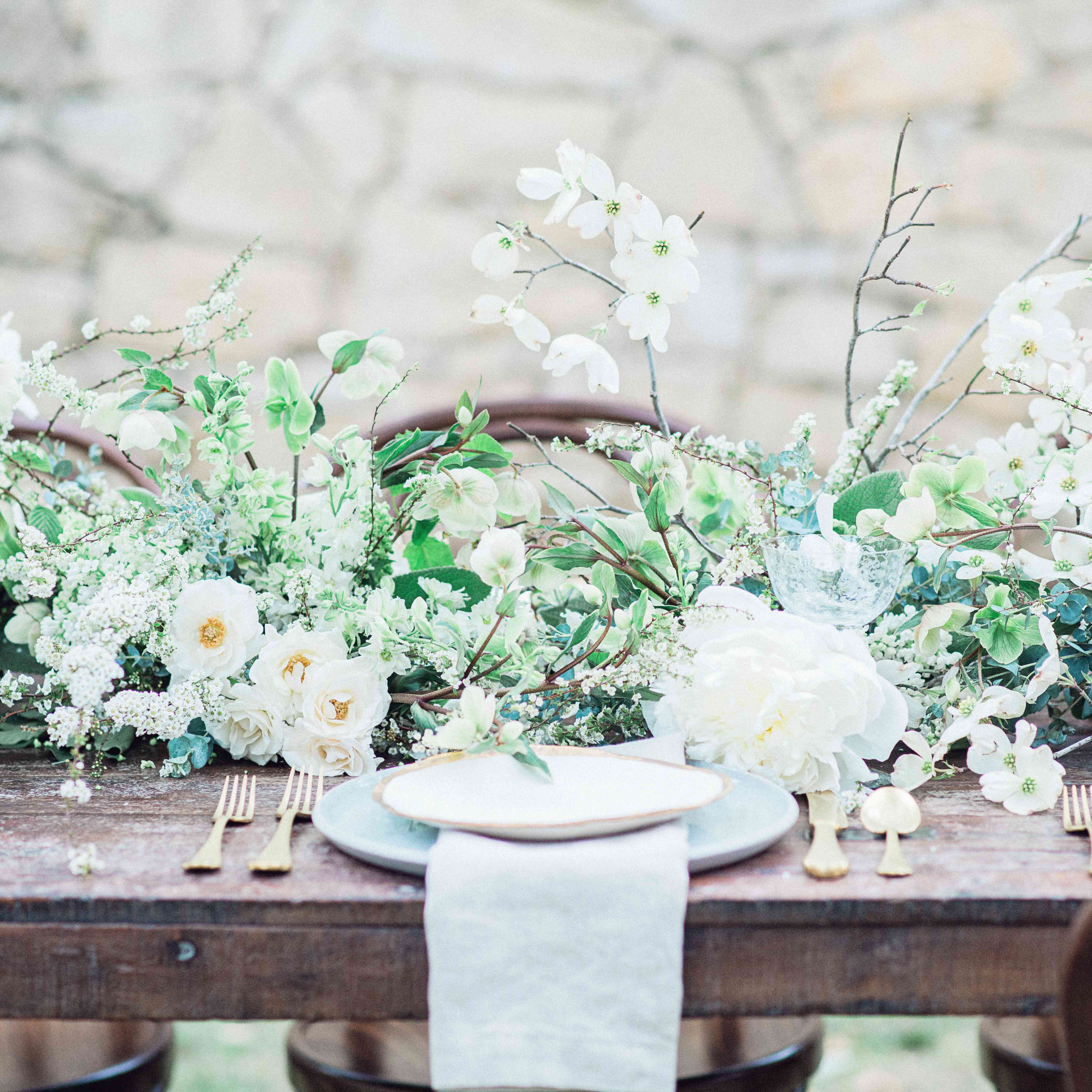 White and green floral garden with pale blue table accents