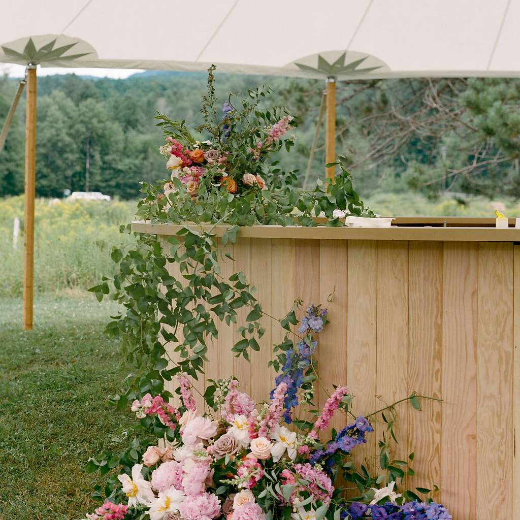 Wood bar with floral decor