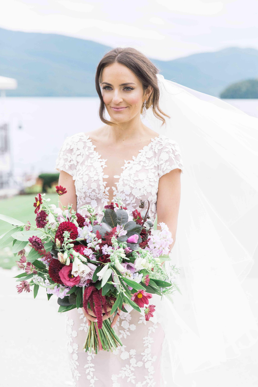 Bride carrying bouquet