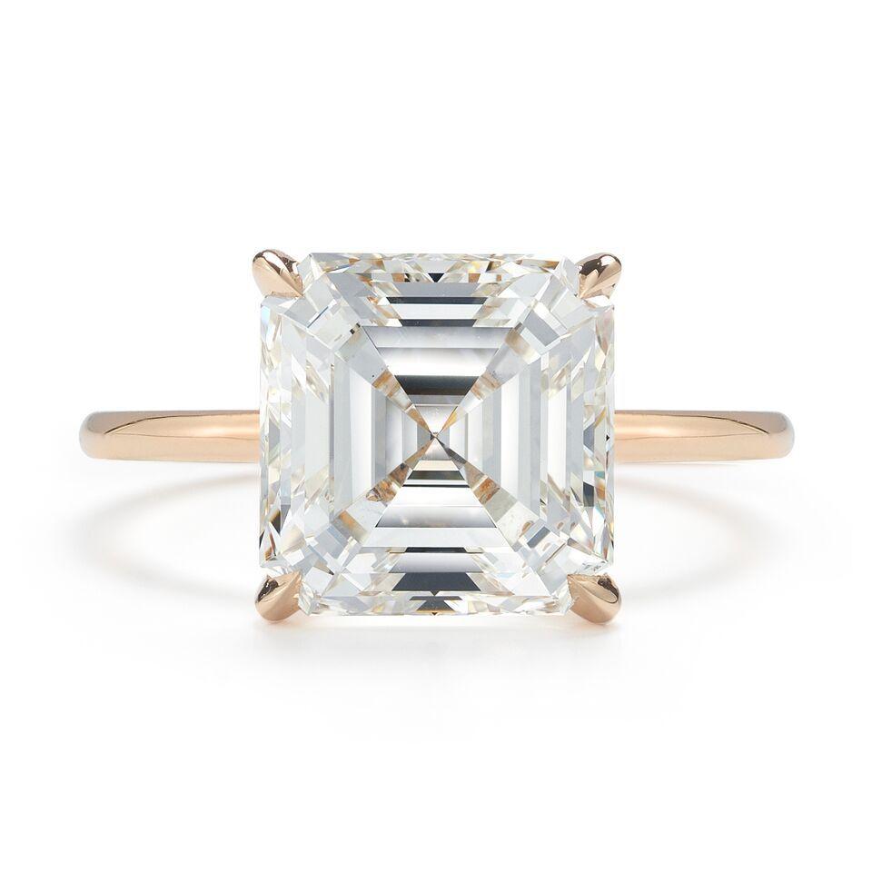Asscher cut diamond rose gold engagement ring