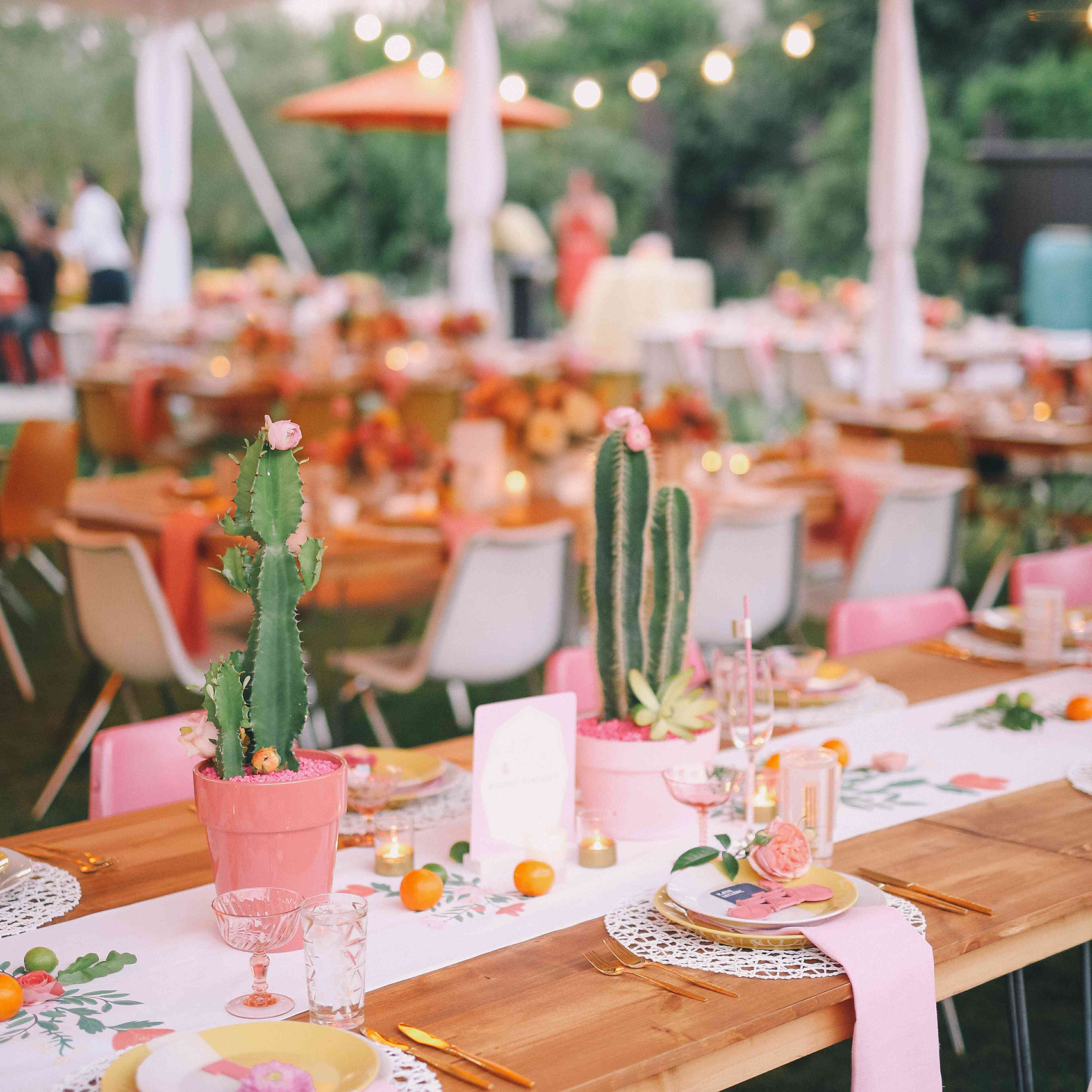 Pink and Green Cactus Tablescape