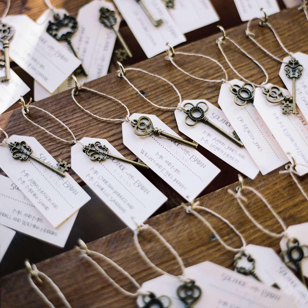 escort cards with skeleton keys