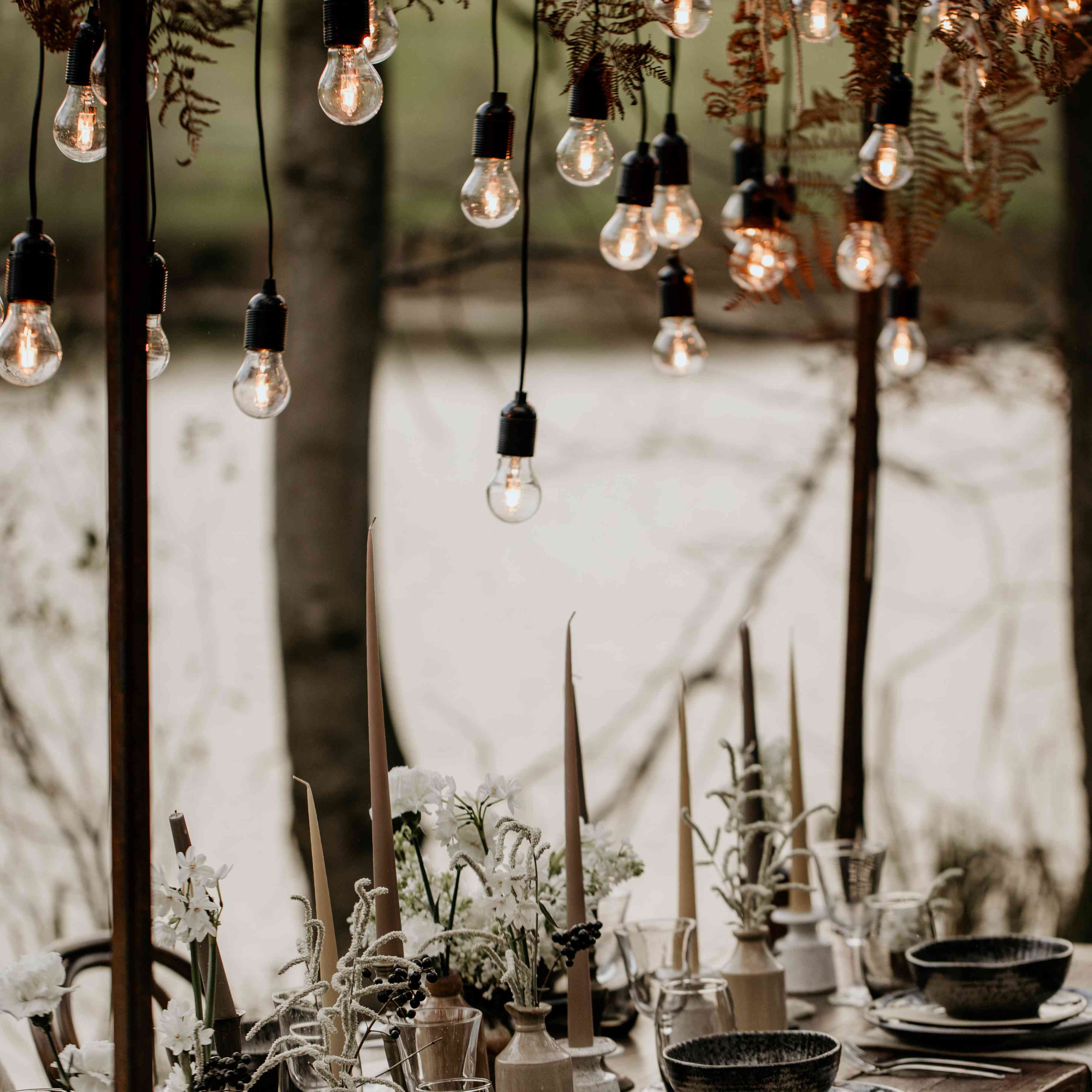 Hanging lights above table