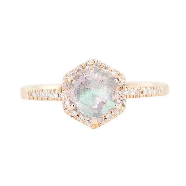 Luna Skye 14K Gold and Diamonds Labradorite Hex Ring