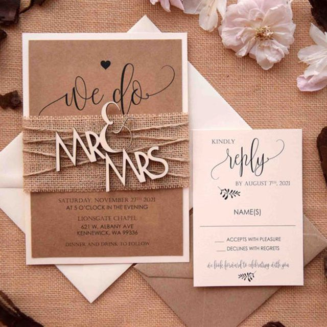 Paper Studio By C Mr and Mrs Wedding Invitations