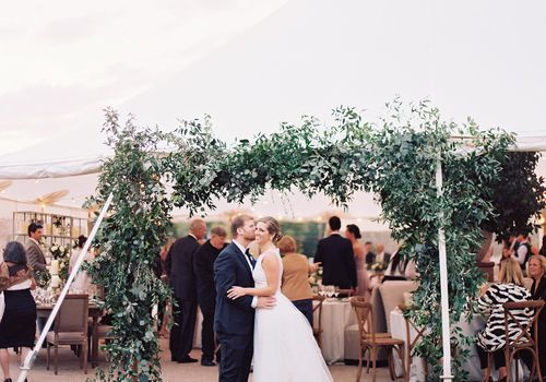 <p>bride and groom reception tent</p>